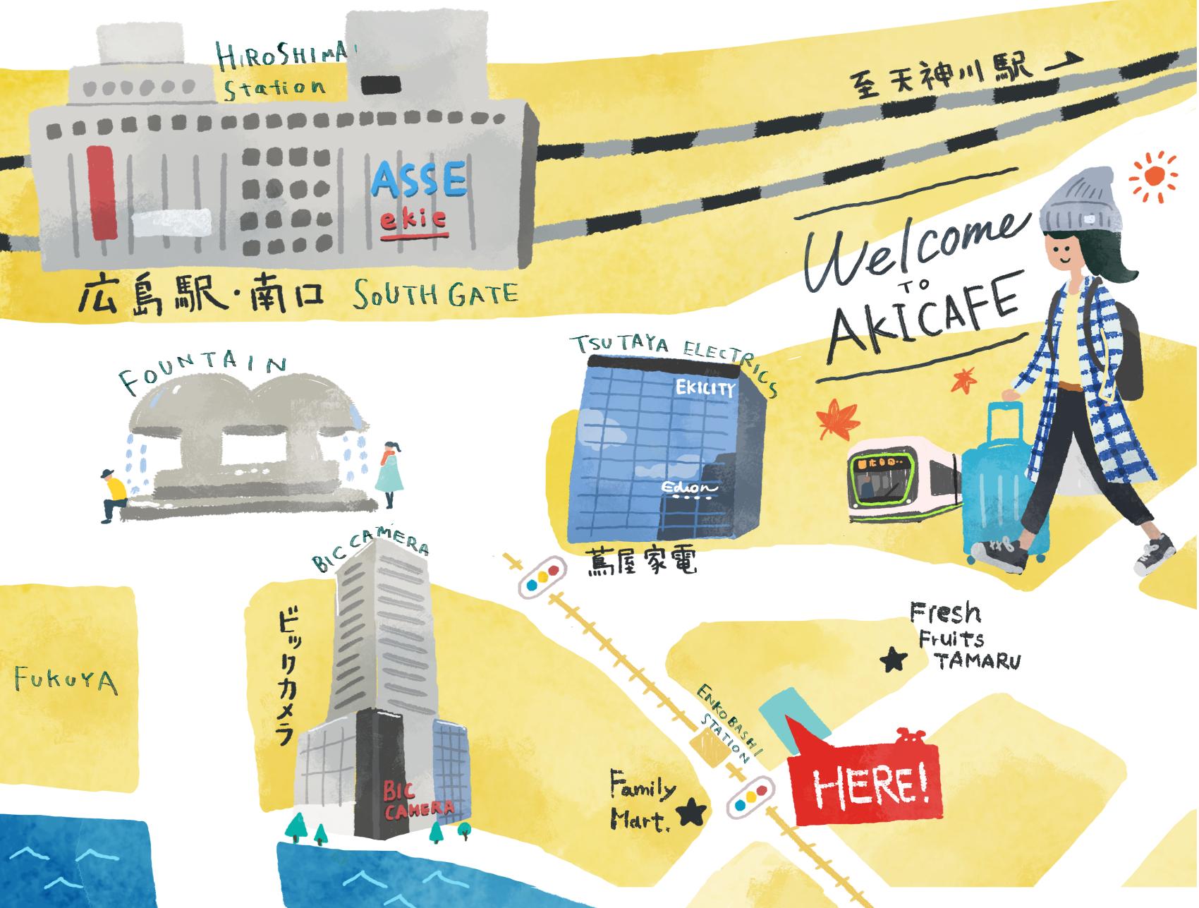 アキカフェ周辺のイラスト地図