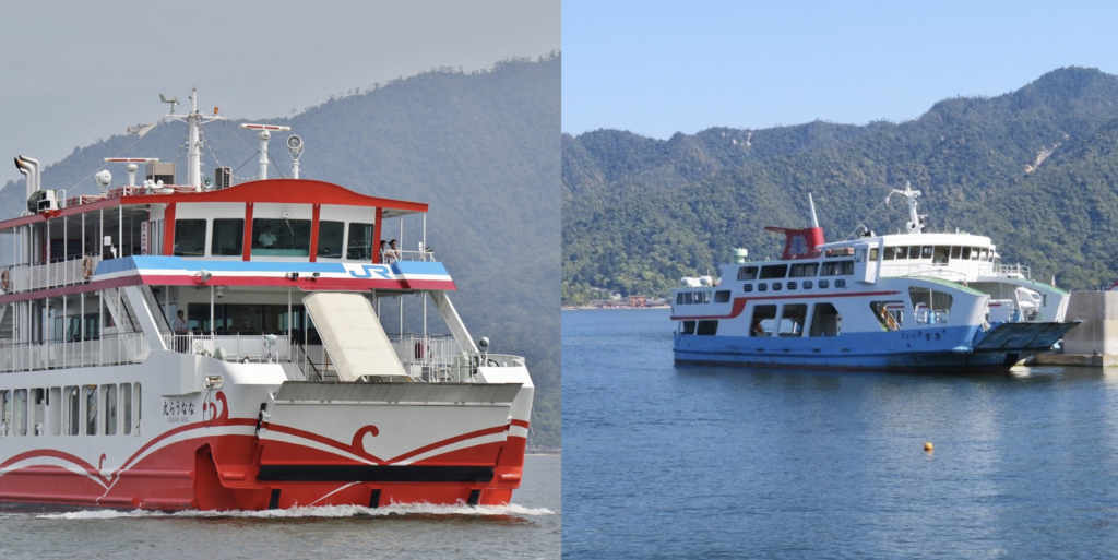 「JR西日本宮島フェリー」と「宮島松大汽船」